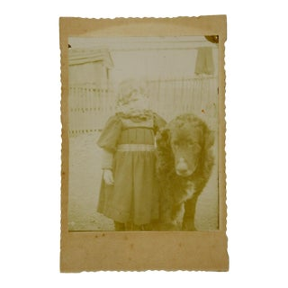 """""""Girl & Very Large Dog"""" Victorian Cabinet Photograph"""