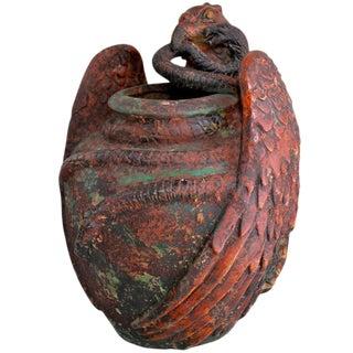 Ceramic Snake Basket With Eagle Design