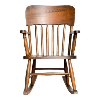 Antique Turn-of-the-Century Handcrafted Spindle Back Child's Wooden Rocking Chair