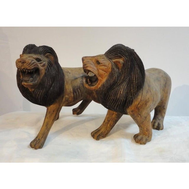 Pair of 19th Century Monumental Hand Carved & Painted Table Top Lions - Image 10 of 10