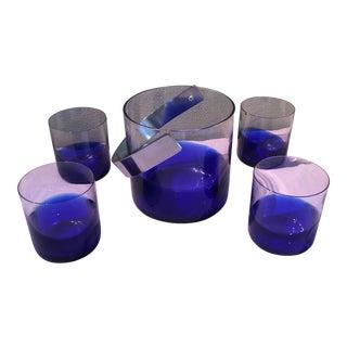 Vintage Cobalt Blue Sasaki Ice Bucket Set