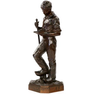 Francois Auguste Hippolyte Peyrol Bronze Sculpture of a Young Man