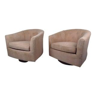 Pair of Mid Century Milo Baughman Style Swivel Lounge Chairs