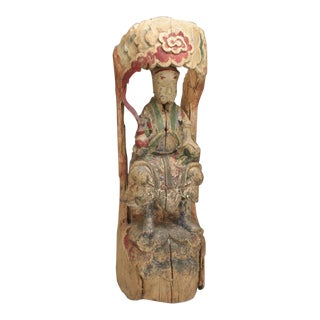 Carved and painted wooden image of Chinese deity, Tung Chi period China c. 1860