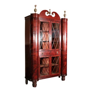 Classical Figured Mahogany Bookcase Cabinet