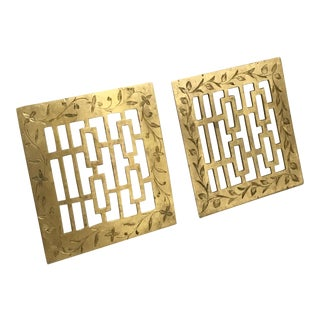 Vintage Asian Motif Brass Trivets - a Pair