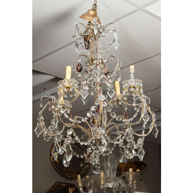 Antique French 4-Light Crystal Beaded Chandelier - Image 5 of 6