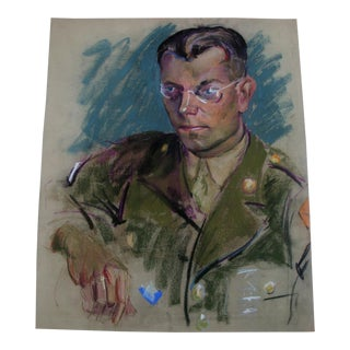 1940s Masculine Pastel Portrait of an Army Man