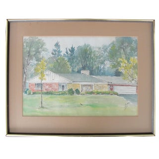 Architectural Mid-Century House Watercolor