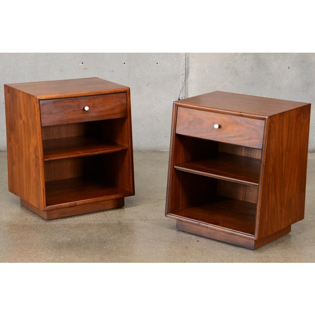 Drexel Declaration Walnut Nightstands- A Pair - Image 2 of 7