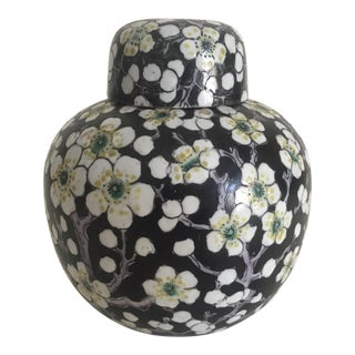 Vintage Japan Porcelain Ware Black & White Flower Blossoms Lidded Ginger Jar