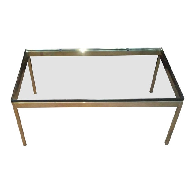 Ward Bennett Brass & Glass Coffee Table - Image 1 of 5
