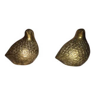 Pair of Mid-Century Brass Quail Figurines