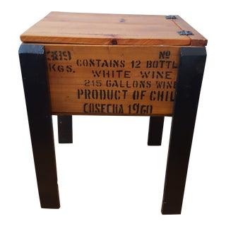 Vintage Mid-Century Rustic Wine Crate Storage Table
