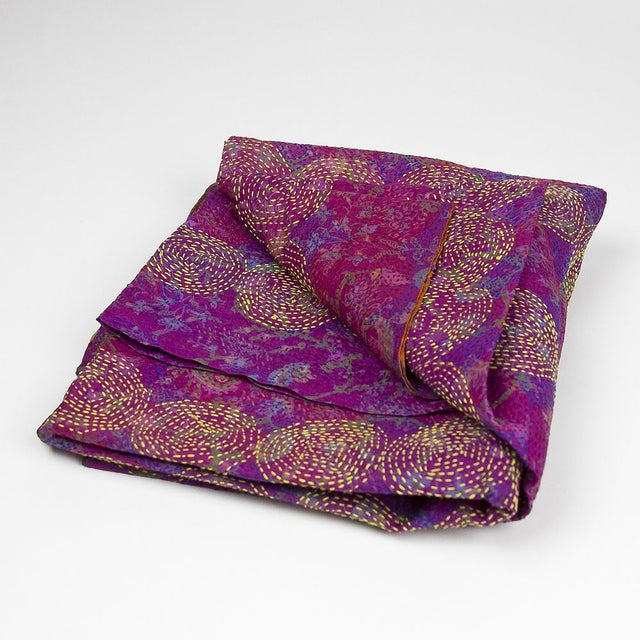 Lavender Chakra Silk Kantha Throw - Image 2 of 5