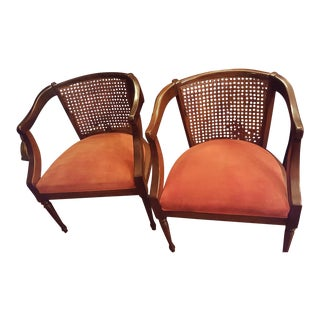 Queen Anne Cane Accent Chairs - A Pair