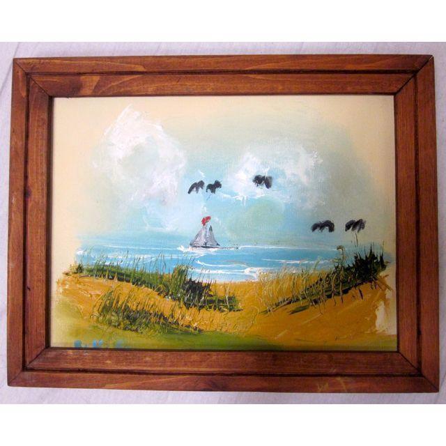 Coastal Beach Scene Signed Painting - Image 4 of 9