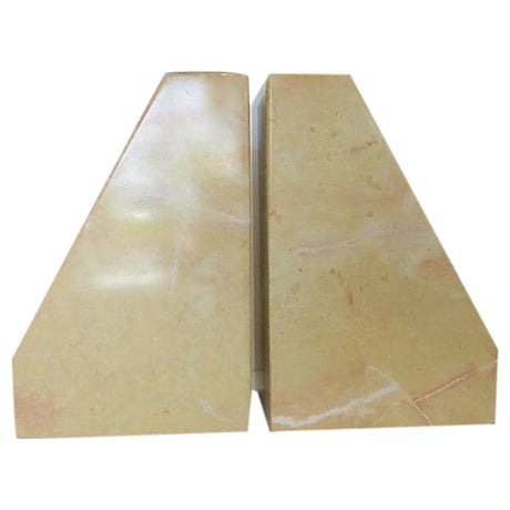 Beige Marble Architectural Bookends - Image 1 of 6