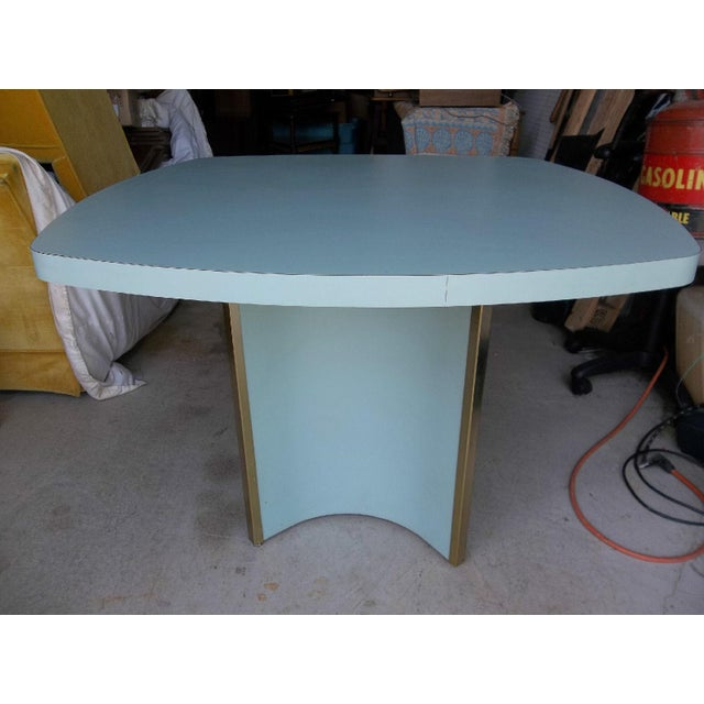 Mid-Century Modern Blue Formica Dining Table - Image 4 of 5