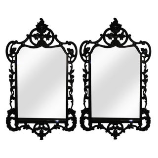 Large Black Lacquer Georgian Mirrors - A Pair