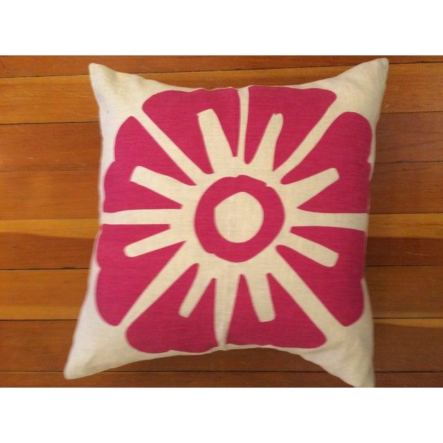 Hand-Printed Fuchsia Flower Pillow - Image 3 of 10