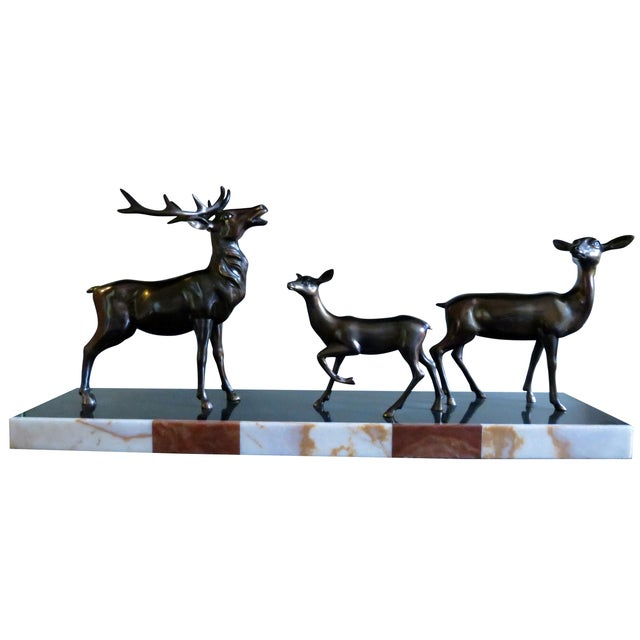 Charles Ruchot 1900s Bronze Deer Family Sculpture - Image 1 of 5