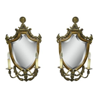 Spanish Renaissance Style Brass & Wood Mirror Electric Sconces - A Pair