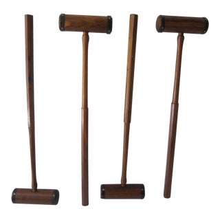 Carved Wood Polo Mallets - Set of 4