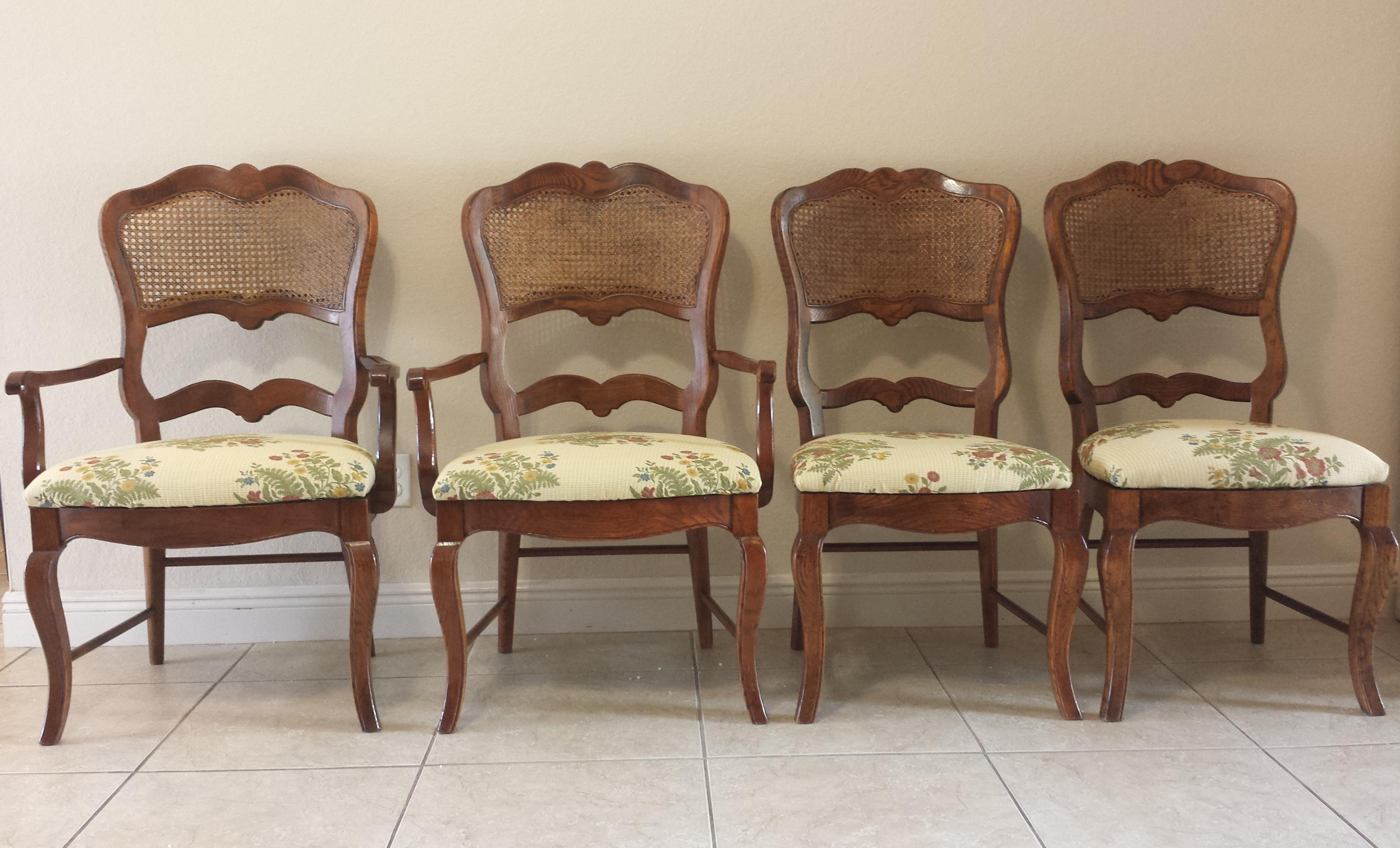 French Cane Chair century french country cane back dining chairs- set of 4 | chairish