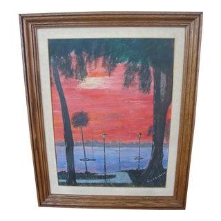 Vintage Gouache Florida Sunset
