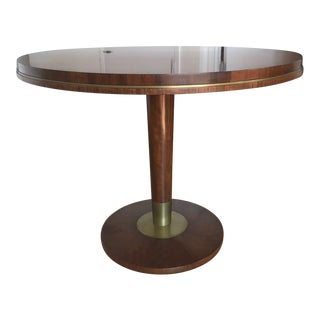 Art Deco Circular Brass & Wooden Table