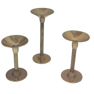 Brass Deco Candle Holders - Set of 3
