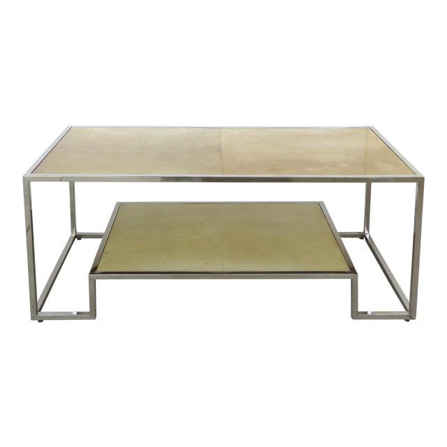 Chrome & Parchment Cocktail Table - Image 1 of 9