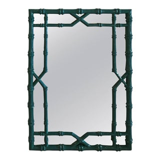 Vintage Teal Blue Lacquered Faux Bamboo Chinese Chippendale Wall Mirror