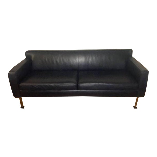 Image of Design Within Reach Black Leather Couch