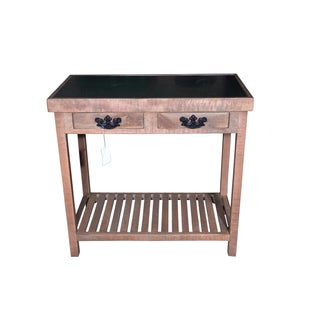 Wooden 2 Drawer Console Table With Glass Top