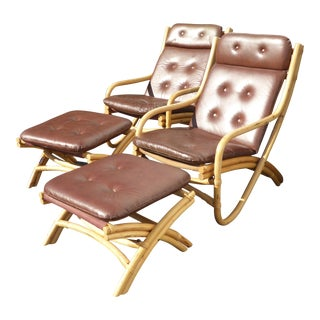 Mid-Century Bamboo Rattan Chairs & Ottomans - A Pair