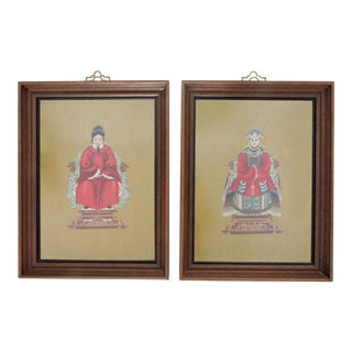 Embroidered Vintage Chinese Ancestor Needlepoints, a Pair