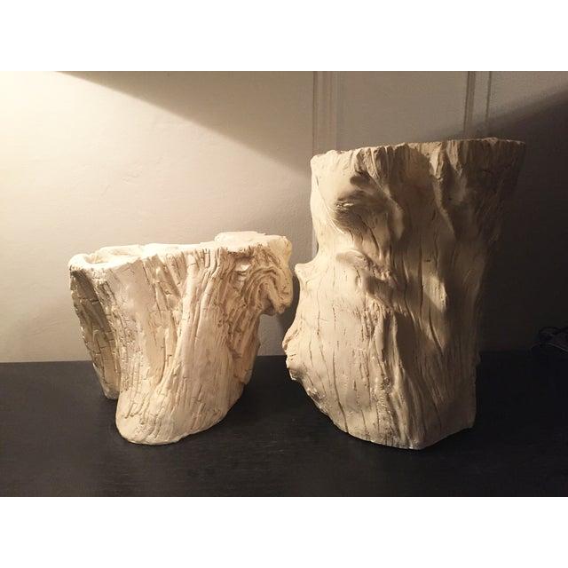 Image of White Enamel Driftwood Planters - Pair