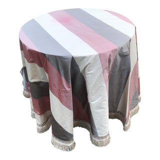 Round Silk & Fringed Cloth Covered Accent Table