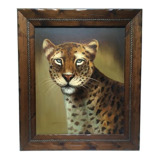 Large Mid Century Leopard Portrait by Franklin