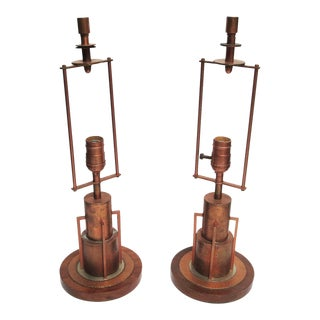 Art Deco Age Copper Skyscraper Table Lamps - A Pair