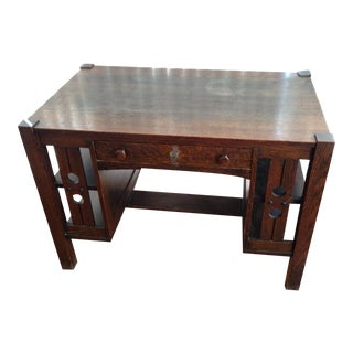 Antique Mission Oak Arts and Crafts Library Desk With Shelves