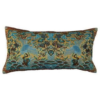 Vintage Turquoise Silk Crane Boudoir Pillow