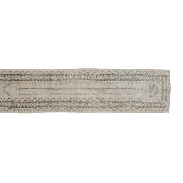 "Vintage Ivory Oushak Rug Runner - 2'6"" x 10'7"" - Image 1 of 2"