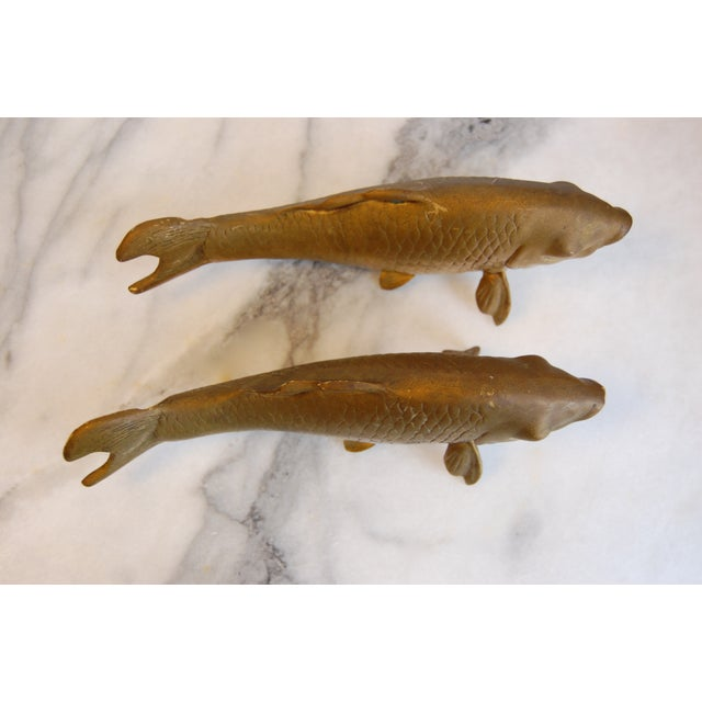 Image of Vintage Brass Koi Fish Statues - A Pair