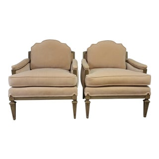 Vintage French Style Velvet Upholstered Chairs - A Pair