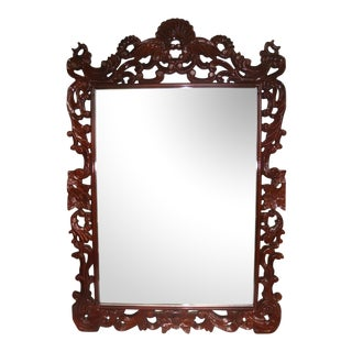 "53"" Rococo Carved Crested Lacquer Mirror"