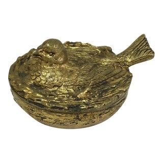 Gilt Bronze Bird on Nest Box