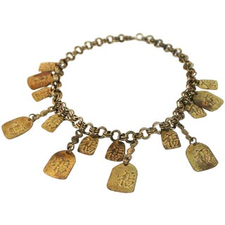 1940s Asian Inspired Brass Bib Necklace